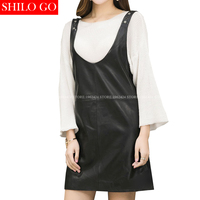 SHILO GO Fashion Street Women's Loose strap V Neck Formal office Sheepskin Genuine Leather straight dress Ladies Concise dress
