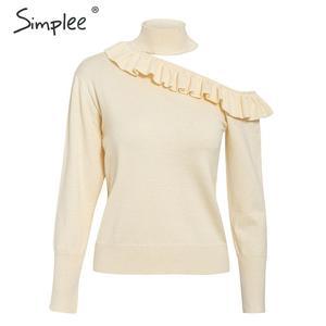 Image 5 - Женский трикотажный свитер с рюшами и длинным рукавом
