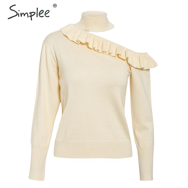 Image 5 - Simplee Sexy halter knitted sweater women jumper winter Hollow out ruffled lady sweater Long sleeve female jumper pull femmePullovers   -