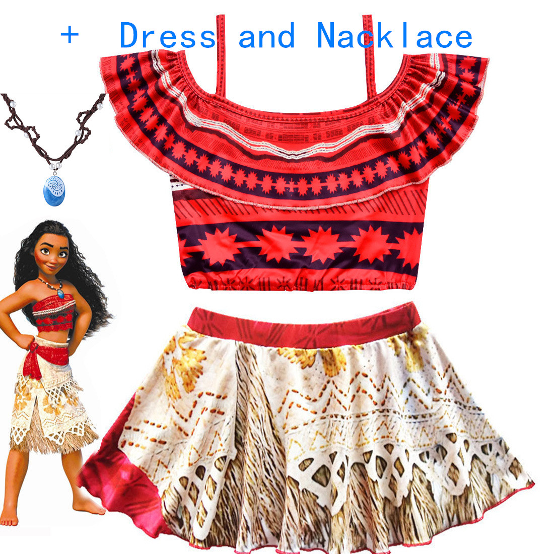 2019 Summer Moana Dress for girls Princess Dresses Kids Party Cosplay Costumes With Wig Children Clothing Vaiana clothes