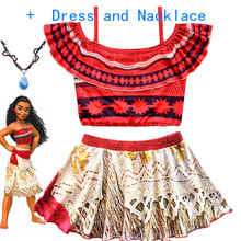 купить 2019 Summer Moana Dress for girls Moana Princess Dresses Kids Party Cosplay Costumes With Wig Children Clothing Vaiana clothes по цене 182.37 рублей