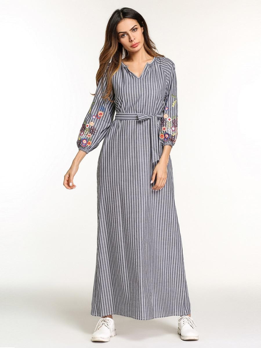 602e0c3a75988 US $21.19 40% OFF|Casual Embroidery Maxi Dress Muslim Abaya Kimono Stripe  Flounce Long Robe Gowns Loose Jubah Ramadan Middle East Islamic Clothing-in  ...