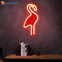 AKDSteel Creative Flamingo Wall Hanging Lamp Bar Party Club Decor Neon Sign Design Romantic Dim Mood Lamp Battery Operated