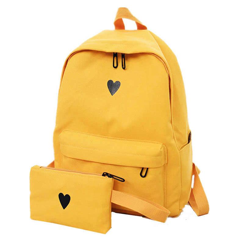 e438f83747ed ... Высокое качество Холст Печатный желтый женский рюкзак 2 шт./компл.  сладкое сердце корейский ...