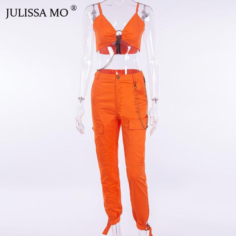 Pantalon Combinaisons Casual Julissamo Streetwear Longue Sexy Deux Chaîne Orange Salopette Ensemble Moulante Bandage Femmes Crop Combishort Top Pièces YqYZOwr
