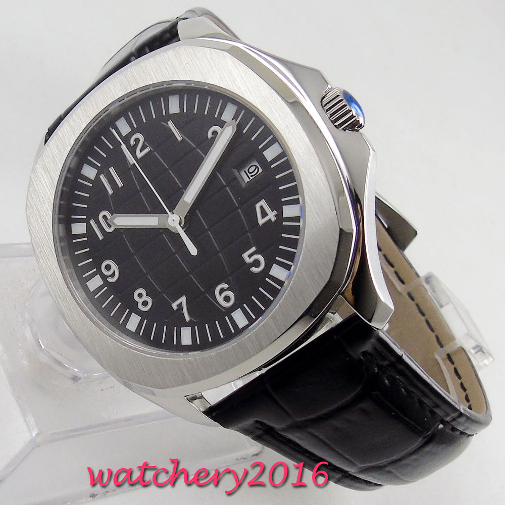 NEW Arrive 39mm Sterile Black Dial Date Indicator Steel Case Luminous Sapphire Glass Luxury Brand Automatic