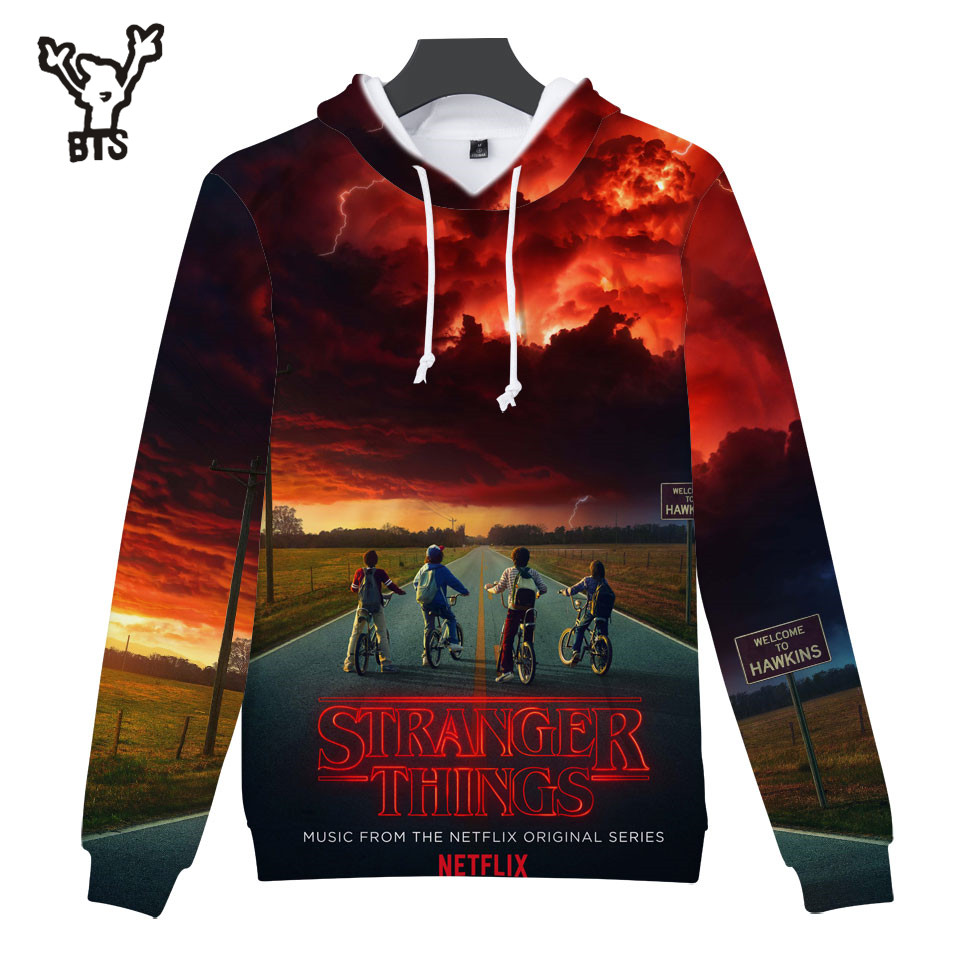 2018 BTS Stranger Things Hoodies Men/Women Fashion Anime 3D Hooides Sweatshirts Lovely Design Autumn/Winter Hoodies Print 4XL