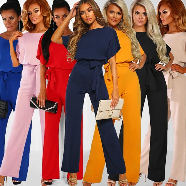 Women Cotton Bandage Jumpsuit Summer Fashion 2019 Short Sleeve Playsuits Clubwear Straight Leg With Belt Overalls Bodycon Ladies 1