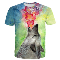 Oil Painting Wolves Prints Tshirts Tees Men Women Tie Dye Art Jazz Wolf 3D T Shirt