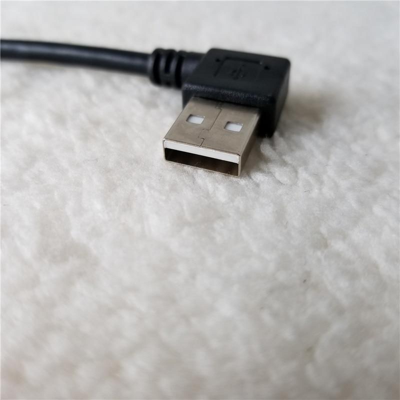 100 pièces/lot double 90 degrés Angle gauche et droit USB adaptateur câble d'extension de données mâle à mâle Type A 25cm noir - 2