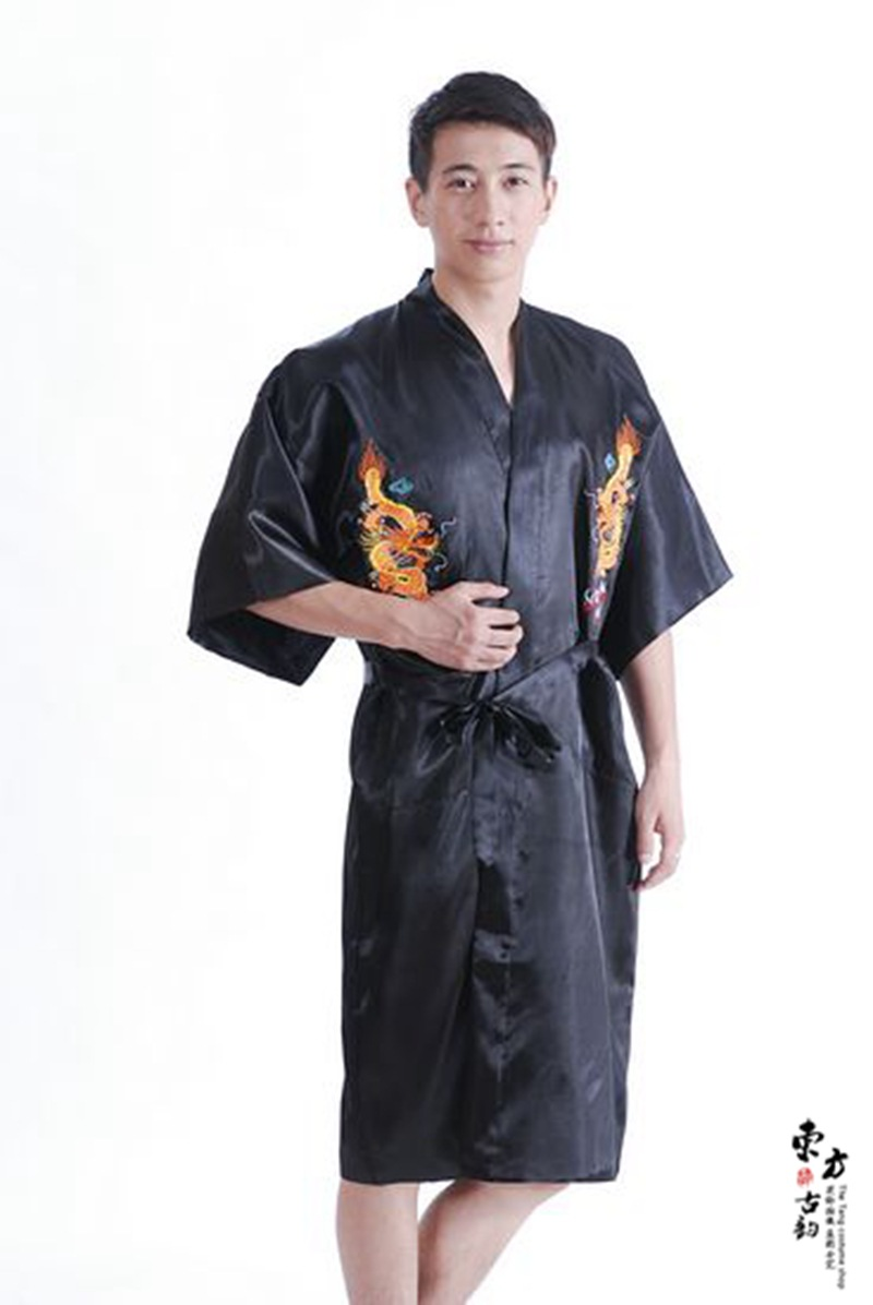 f316ad36d1 2017 Men s Satin Chinese Style Bridegroom Robes Bathrobe Embroidery Dragon  Nightgown Sleepwear Dressing Gown For Male -in Robes from Underwear    Sleepwears ...