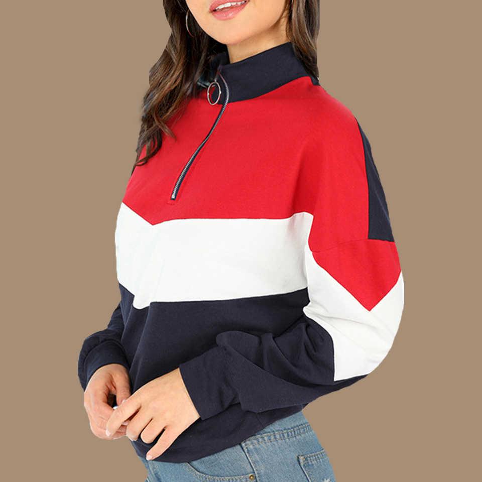 Ретроспортивный костюм, толстовка с капюшоном в стиле пэчворк Poleron Mujer 2019, пуловер на молнии, свитер, разноцветная толстовка, Женское кольцо на молнии
