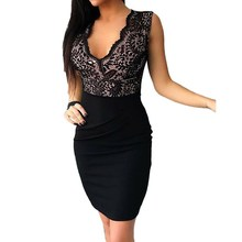 2019 Summer Black Party Dress Sexy V-Neck Sleeveless Mini Dress Bodycon Patchwork Short Dress Women Lace Pencil Dress стоимость