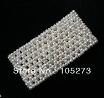 New Arriver Pearl Jewelry White Seed Bead Pearl Stretch Bracelet No Clasp Hand Knitted Basket weave Design 3-4mm 7.5'' Hot Sale