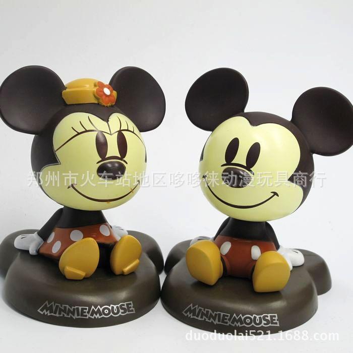 Automobile Cute Mickey Minnie Shake Head Dolls Car Furnishing Articles Ornaments Auto Inside Crafts Decoration Car