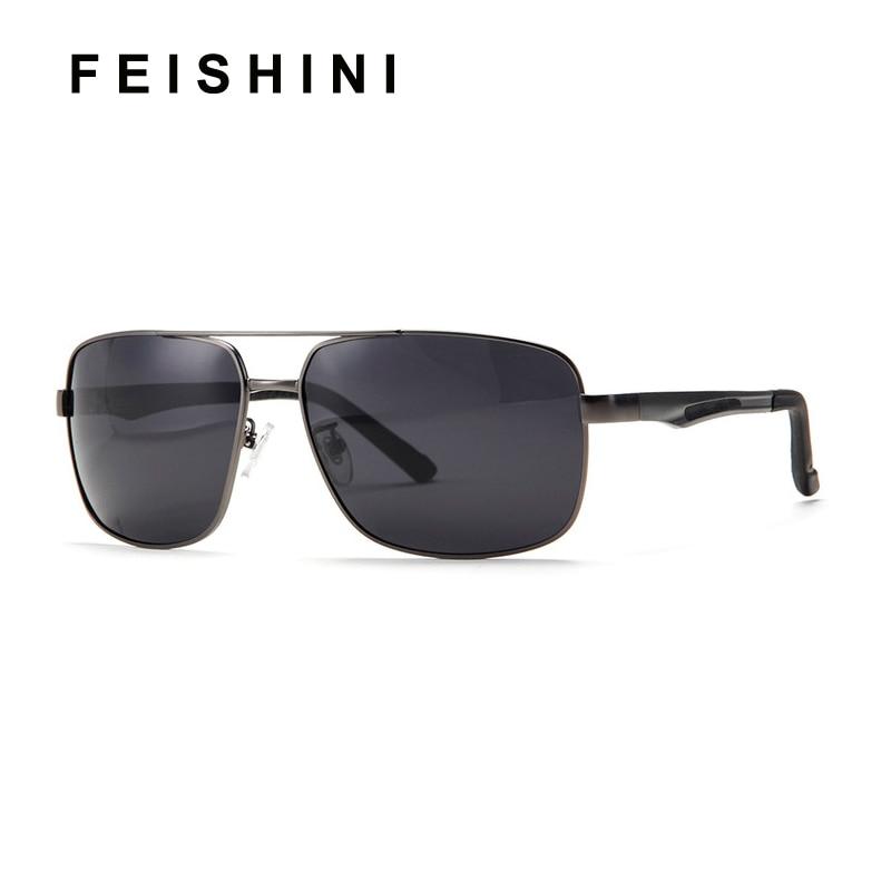 FEISHINI Goggles Aluminum Polaroid Sun glasses Men UV Protection Spring legs Brand Design Polarized Sunglasses For Men in Men 39 s Sunglasses from Apparel Accessories