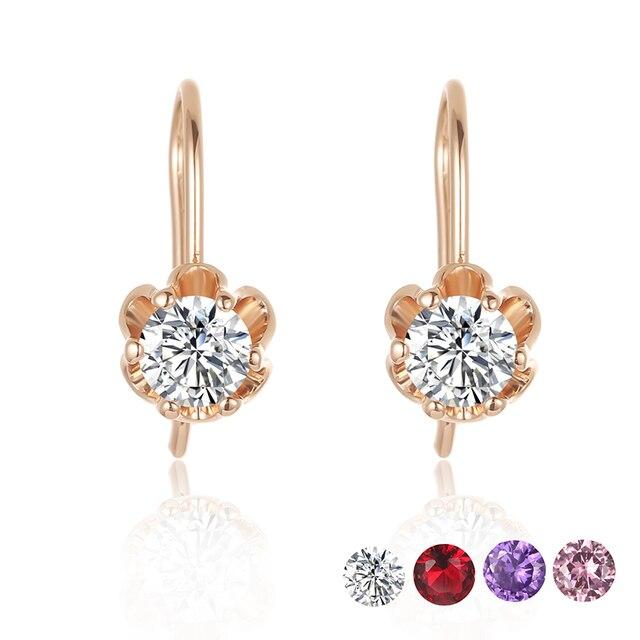73627c61c14c Joyería de moda 5 colores para mujer 585 oro Color de rosa flores en forma  de