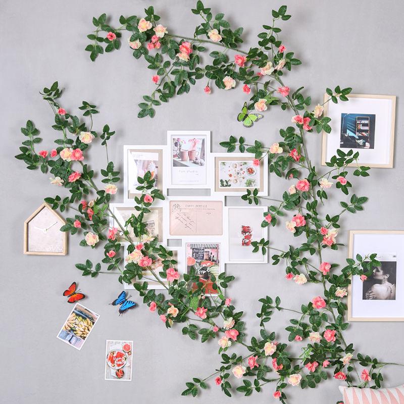 yumai 180cm Rose Silk Flowers Artificial Vine with Green Leaf Wall Hanging Flower Rattan Wedding Background Decoration