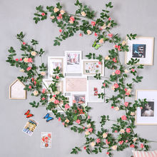 yumai 180cm Rose Silk Flowers Artificial Vine with Green Leaf Wall Hanging Flower Rattan Wedding Background Decoration