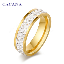 CACANA Titanium Stainless Steel Rings For Women Double Row CZ Fashion Jewelry Wholesale NO R101 102