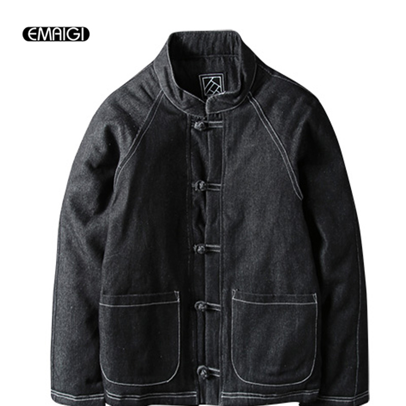 Winter Men s Cotton Padded Thickened Jacket China Style Male Jeans Coat Mens Fashion Casual Hiphop