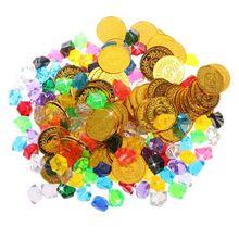 100 золотые монеты и 100 драгоценных камней пиратские игрушки пиратские драгоценные камни ювелирные изделия сокровище для пиратских Вечерние