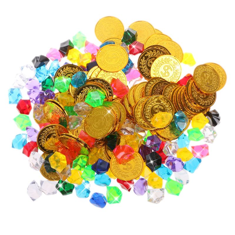 100 Gold Coins And 100 Gems Pirate Toys Pirate Gems Jewelery Treasure For Pirate Party