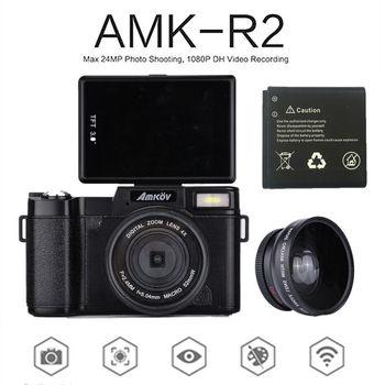 "AMKOV Digital SLR Camcorder AMK-R2 3.0"" CMOS TFT LCD 1080P HD 24MP Wide-angle Lens Digital Camera+Extra 1 Battery+Card Reader"