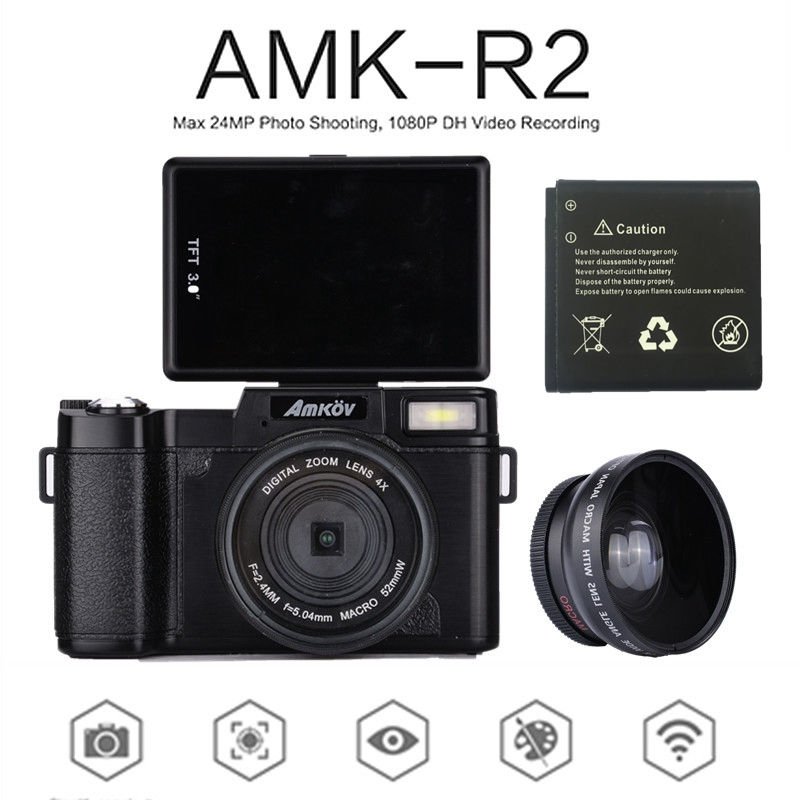 AMKOV Digital SLR Camcorder AMK-R2 3.0 CMOS TFT LCD 1080P HD 24MP Wide-angle Lens Digital Camera+Extra 1 Battery+Card ReaderAMKOV Digital SLR Camcorder AMK-R2 3.0 CMOS TFT LCD 1080P HD 24MP Wide-angle Lens Digital Camera+Extra 1 Battery+Card Reader