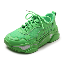 YeddaMavis Shoes Women Sneakers Green Daddy Summer New Korean Lace Up Casual Womens Woman Trainers