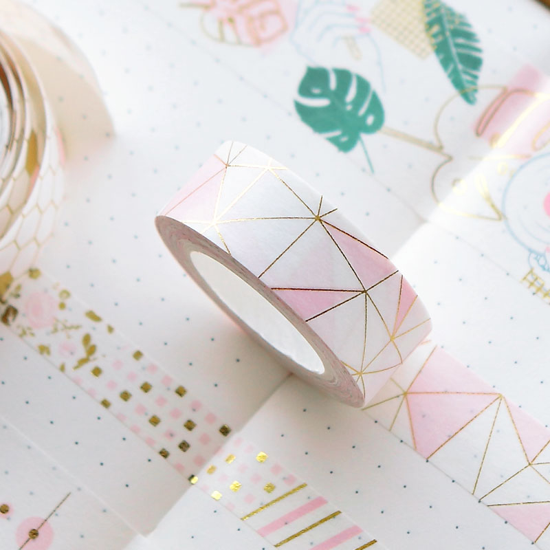 Pink Foil Geometric Washi Tape Diy Decorative Scrapbooking Sticker Planner Masking Adhesive Tape Label infeel blue girl washi tape diy decorative scrapbooking planner masking label sticker stationery school supplies