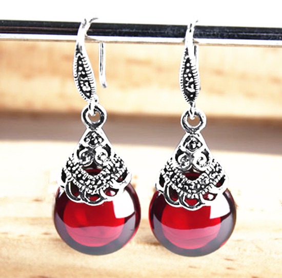 Thai silver retro round RUBY EARRINGS Garnet Earrings Earrings female female temperament silver jewelry 925 silver earrings female teardrop shaped earrings stylish temperament earrings
