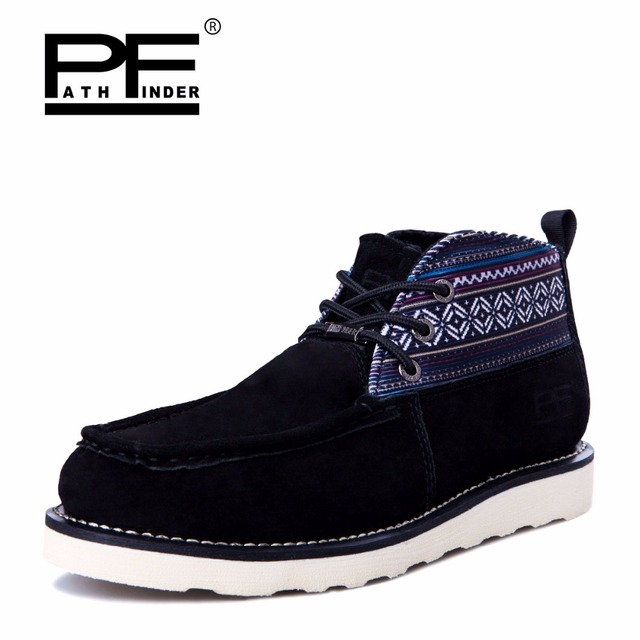Pathfind men suede leather ankle Boots 2017 Motorcycle Martin Tooling Outdoor Shoes army Western Botas mans winter luxury brand