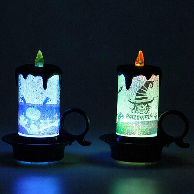 هالوين حزب إمدادات الاصطناعي لهب أضواء الشموع الشاي الإلكترونية مصباح لجميع القديسين الديكور الحلي
