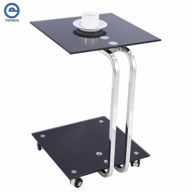 Beau BLACK GLASS LAPTOP STAND SIDE DESK SOFA SIDE TABLE PORTABLE MOVEABLE 4  WHEELS