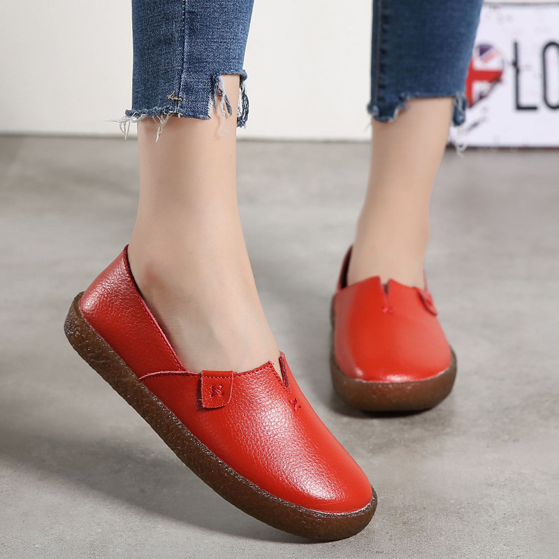 Largesize genuine leather Women shoes flats mother shoes ladies lace-up fashion casual shoes comfortable breathable women flats women s shoes 2017 summer new fashion footwear women s air network flat shoes breathable comfortable casual shoes jdt103