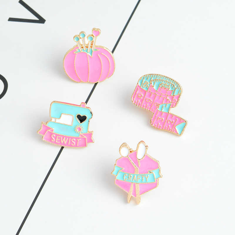 Cartoon enamel pins tape measure Sewing machine crafty scissors clew Brooch Denim jeans Pin Badge Fashion Jewelry gift for girl