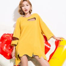 [GUTU] 2017 Spring Summer Fashion New Solid Color O Neck Hole Mesh Patchwork Irregular T-shirt Woman T59200
