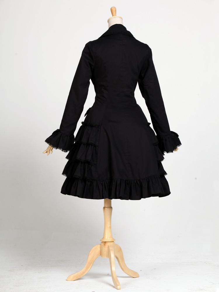De Estilo Hepburn Encaje Lolita Gabardina Manga Jardín Larga Abrigo Vintage Negro Audrey q7ptvw5z