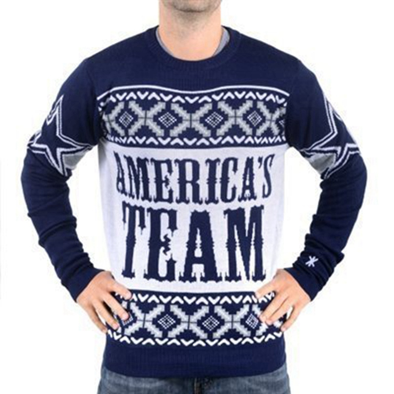 02f73520e02 Dallas Cowboys Ugly Christmas Sweater. man busy block ugly sweater cowboys  patche crew neck american football style winter pullovers sweaters m