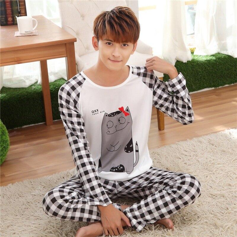 Hot Sale Men Pajama Sets Autumn Spring Male Long Sleeves Men Pyjama Sets Home Sleepwear Men Boys Cartoon Home Lounge SizeL-2XL