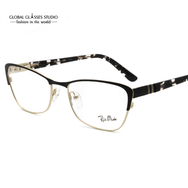 23565f432464 New Fashion Italy Design Glasses For Women Black Purple Gold Stainless Steel  with Acetate Eyeglasses Eyewear G85