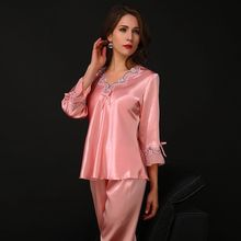 New Silk Pajamas For Women Satin Womens Sets Long Sleeves V-neck Lace Top+Pants Ladies Pyjama Femme Homewear