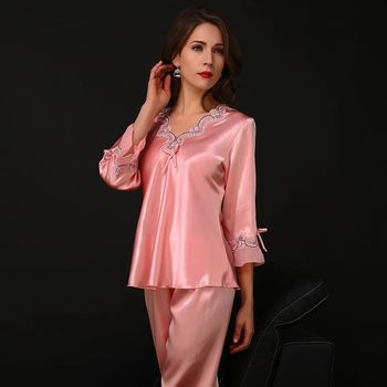 New Silk Pajamas For Women Satin Womens Pajamas Sets Long Sleeves V-neck Lace Top+Pants Ladies Pyjama Femme Homewear purple lace design v neck long sleeves self tie waist pajamas