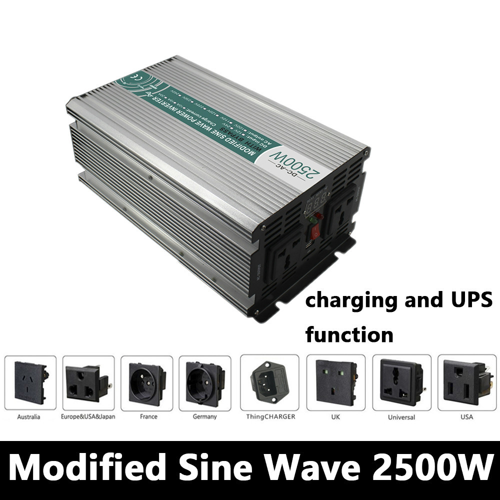 2500W Modified Sine Wave Inverter,DC 12V/24V/48V To AC110V/220V,off Grid Solar Power Inverter With Battery Charger And UPS free shipping 600w wind grid tie inverter with lcd data for 12v 24v ac wind turbine 90 260vac no need controller and battery