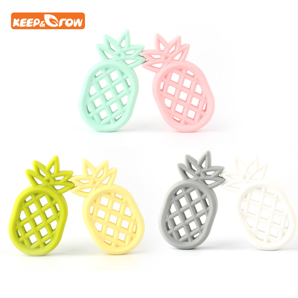 Keep&grow 2Pcs Silicone Teether Pineapple Baby Necklace Pendant Nursing Soft Silicone Beads For Baby Dental Training Teethers