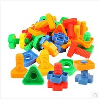 Screws Nut Pairing Plastic Assemblage Building Blocks Kindergarten Children Educational Toys 3-7 Years Old Kids 350g/bag