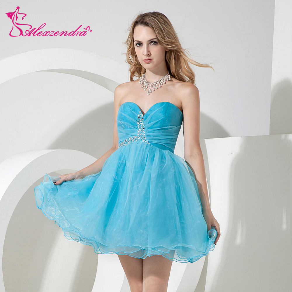 Alexzendra Sky Blue Organza A Line Mini Short   Prom     Dresses   2018 Sweetheart Beaded Party   Dresses   Plus Size