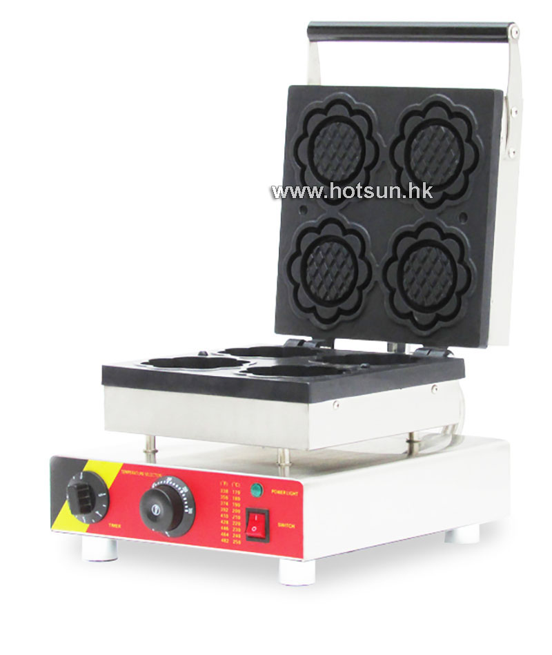 Free Shipping Commercial Non-stick 110V 220V Electric 4pcs Flower Shaped Ice Cream Waffle Maker Baker Iron Machine