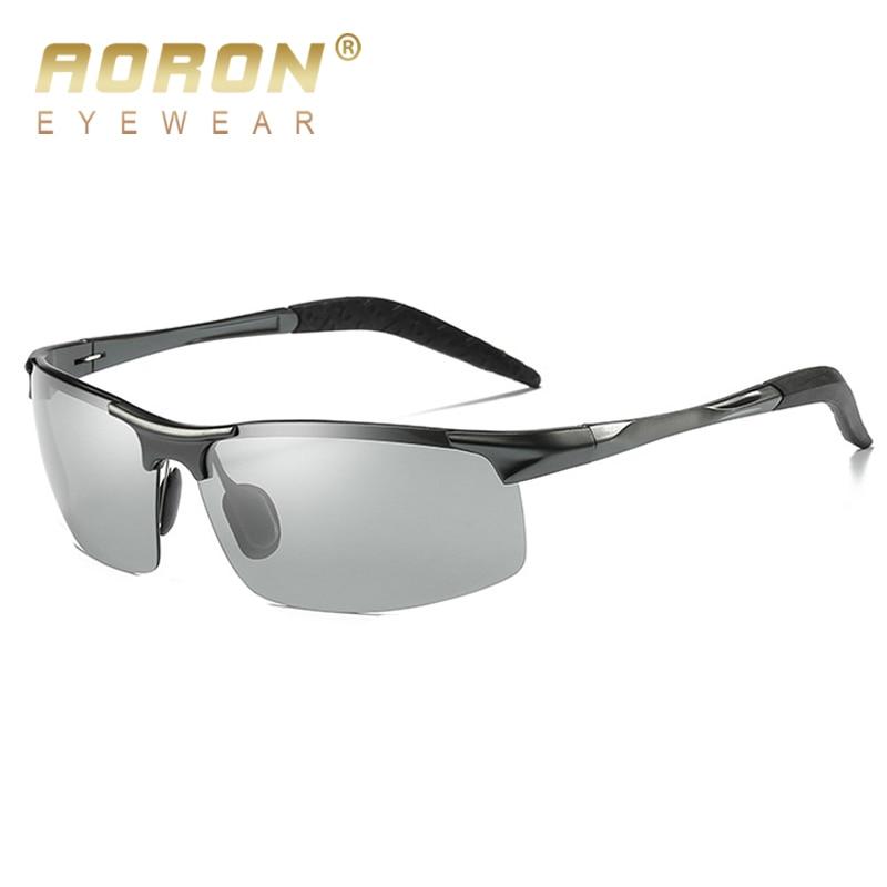 2018 AORON hombres gafas de sol polarizadas de decoloración de aluminio fotocromáticas gafas de aleación masculina antirreflejo HD gafas